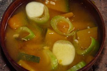 マコモダケとカボチャの味噌汁