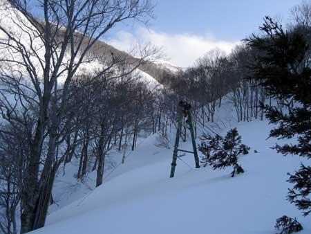 日白山途中のケーブル