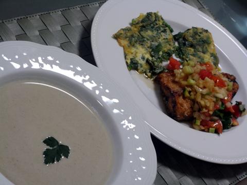 ごぼうスープと鯖のカリカリ揚げ