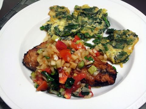 鯖のカリカリ揚げ野菜ソース