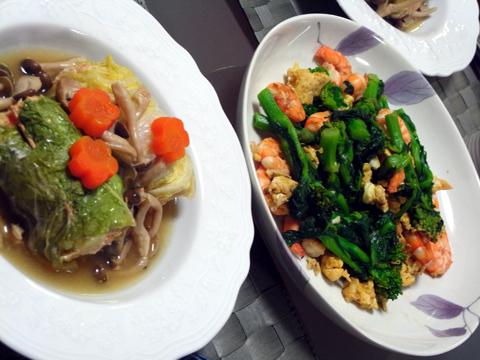 ロール白菜と海老と菜の花