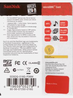 SanDisk 16GB microSDHC カード(Class 2) 海外リテール版パッケージ 裏面