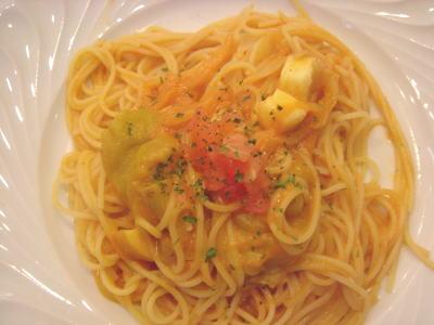 焼き茄子とスモークチーズのパスタ