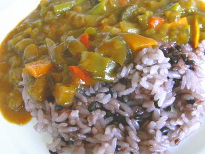 野菜カレー&黒米
