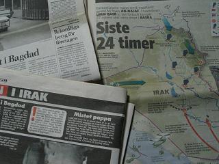 イラク戦争を報じる北欧の新聞