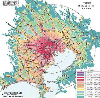 首都圏の地価分布図