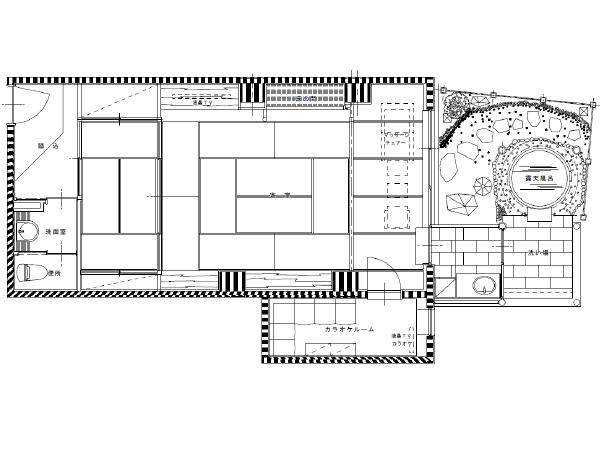 カラオケルーム付露天風呂付き客室平面図