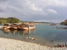 屋形船と鴨