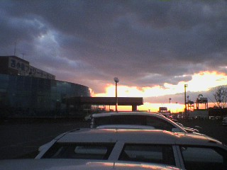 苫小牧港の夕焼け