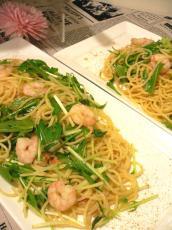 エビと水菜のペペロンチーノ カラスミ風味