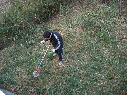 只今草刈り中
