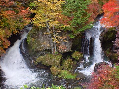 竜頭の滝は二股に分かれて落ちる