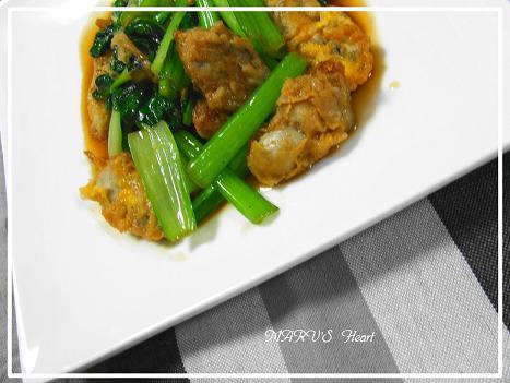 牡蠣と小松菜の中華炒め