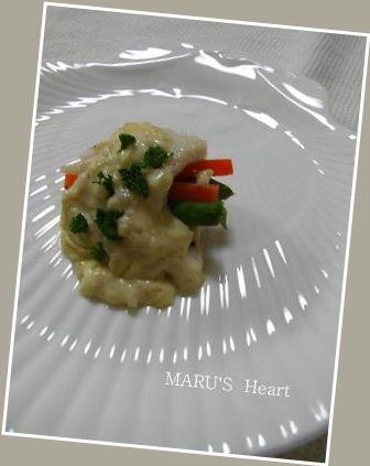 白身魚のワイン蒸しホワイトソース
