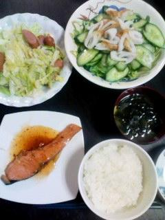 鮭・わかめ豆腐味噌汁・キャベツウィンナー・サラダ