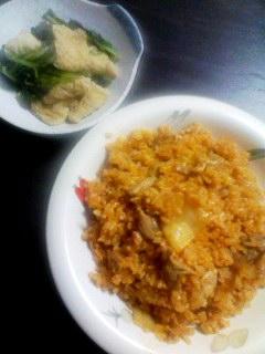 キムチチャーハン・ほうれん草と油揚げ煮物