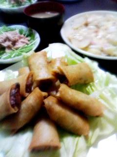 春巻き・ジャーマンポテト・長ネギの卵とじ汁・水菜のツナサラダ
