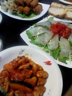 鶏モモ肉とかぼちゃのトマトソース煮・春巻き・胡瓜のちくわ巻き・鯛のカルパッチョ