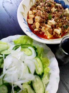 マーボー豆腐・きゅうりとレタスのサラダ