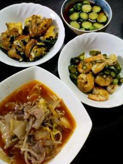 きゅうりの辛味噌和え・アスパラガスとえびの塩炒め・にらの卵焼き・牛肉ともやしの韓国風スープ