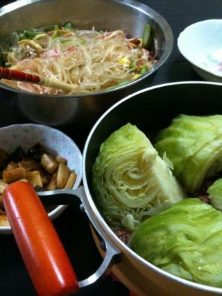 コンビーフキャベツ・春雨サラダ・椎茸とエリンギのにんにく炒め