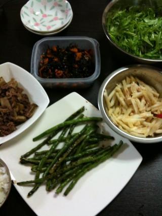 牛肉とごぼうの煮物・いんげんの炒め物・水菜とじゃこのサラダ・ひじき