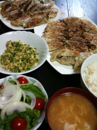 焼き餃子・セロリの卵炒め・サラダ・キャベツと油揚げのお味噌汁