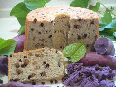 紫芋チョコチップシフォンケーキ
