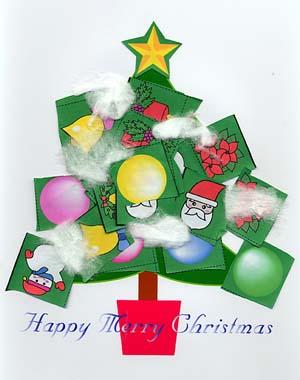 クリスマスツリーの貼り絵幼児向け工作