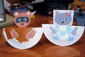 紙皿工作たぬき・ネコ