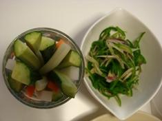 野菜スティツク&ピーマンと茗荷のなんとか