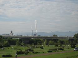 パルプ工場の煙はまっすぐ上がっています(^^)