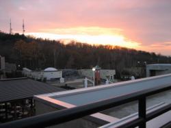 ほっきょくぐま館から見る夕陽