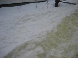 裏の屋根から雪が落ちて・・・
