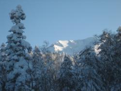 朝日の当たる大雪山