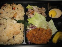 帆立の混ぜご飯とエゾ鹿肉のメンチカツ