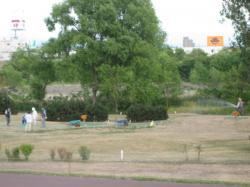 パークゴルフ場では芝の手入れ中