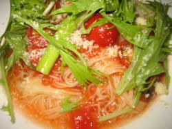 海老とアスパラのフレッシュトマト冷製パスタ(極細麺)
