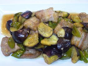 豚バラ肉と茄子のオイスターソー炒め