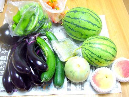 夏野菜と桃
