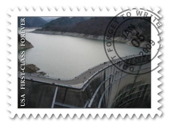 切手イメージの黒部ダム