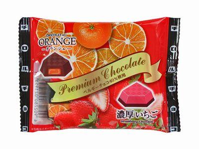 チロルチョコ--プレミアムアソート<袋>(オランジェ/濃厚いちご)。