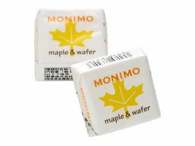 日幸製菓--MONIMO maple&wafer メイプルクリーム味。