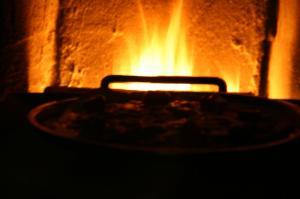 石窯でピザを焼く♪