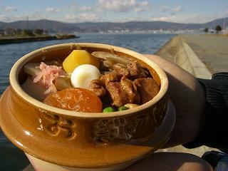 諏訪湖で釜飯