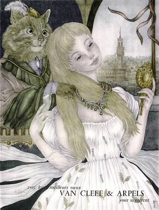 illustration for Van Cleef & Arpels jewelry advertisement by Adrienne Segur