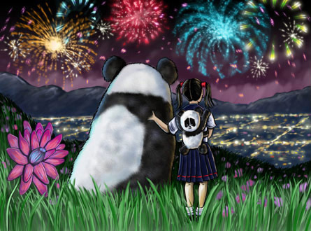 Girl, Panda, and Fireworks by Sam Gilbey