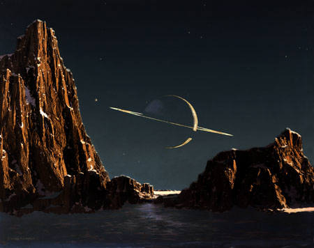Saturn Seen From Titan by Chesley Bonestell