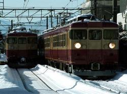 城川原駅での交換風景