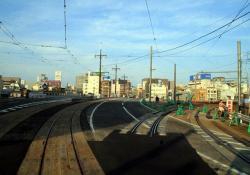 幸橋西詰 右側が仮線跡(2007.10.28)